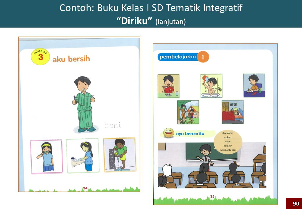 "90 Contoh: Buku Kelas I SD Tematik Integratif ""Diriku"" (lanjutan)"