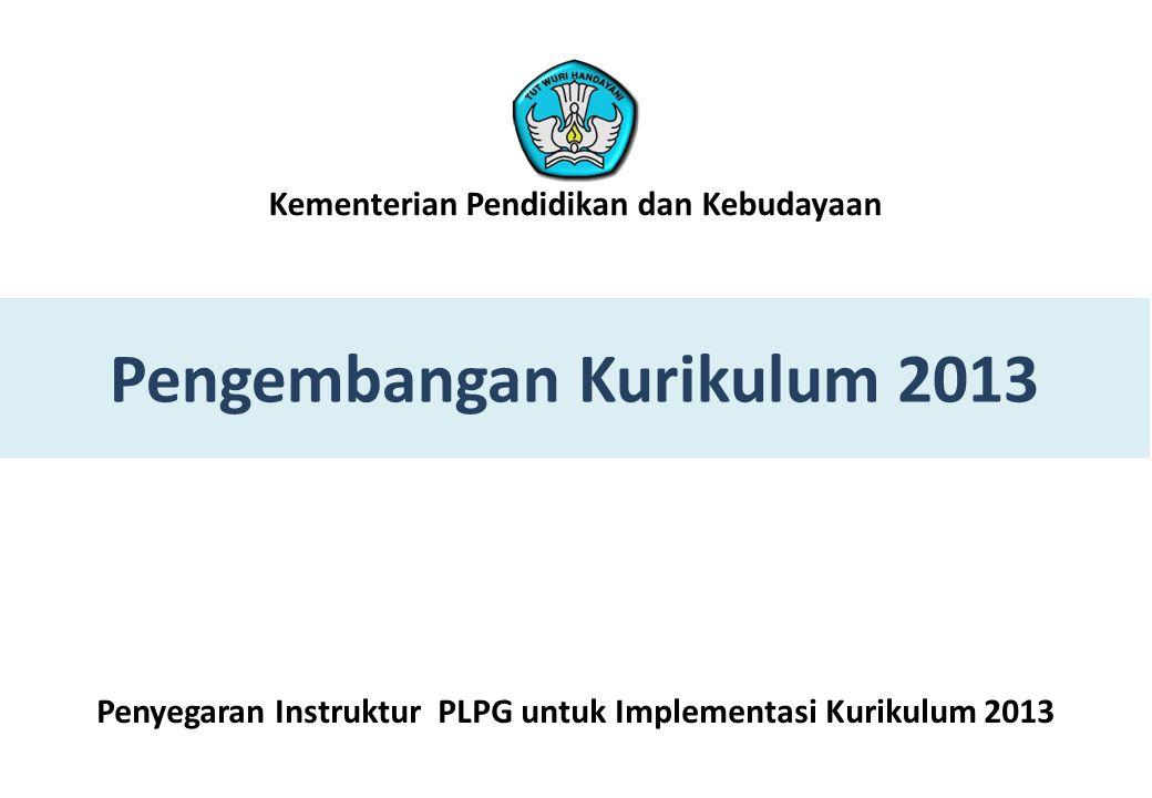 Pengembangan Kurikulum 2013 Penyegaran Instruktur PLPG untuk Implementasi Kurikulum 2013 Kementerian Pendidikan dan Kebudayaan