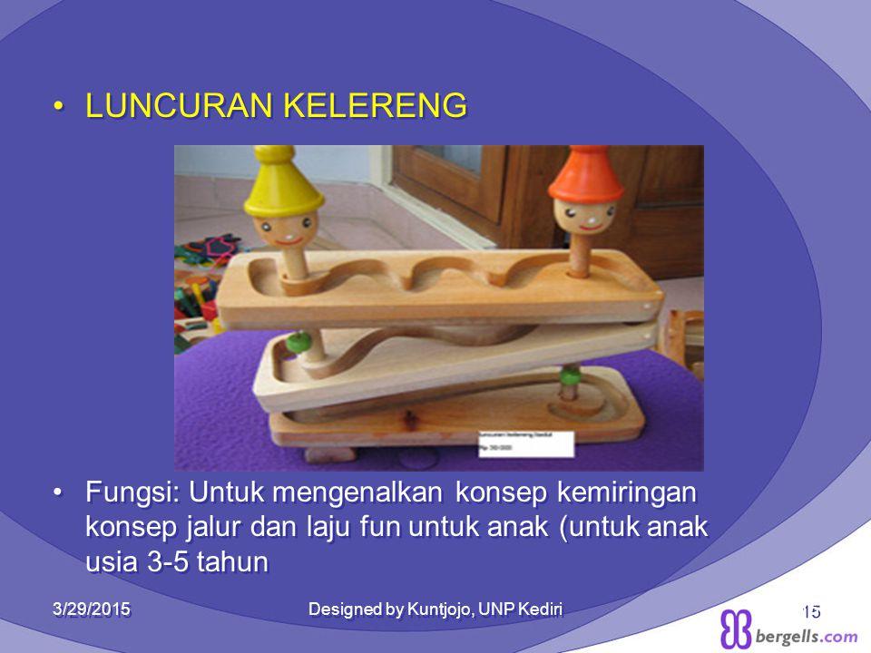 LUNCURAN KELERENG Fungsi: Untuk mengenalkan konsep kemiringan konsep jalur dan laju fun untuk anak (untuk anak usia 3-5 tahun LUNCURAN KELERENG Fungsi