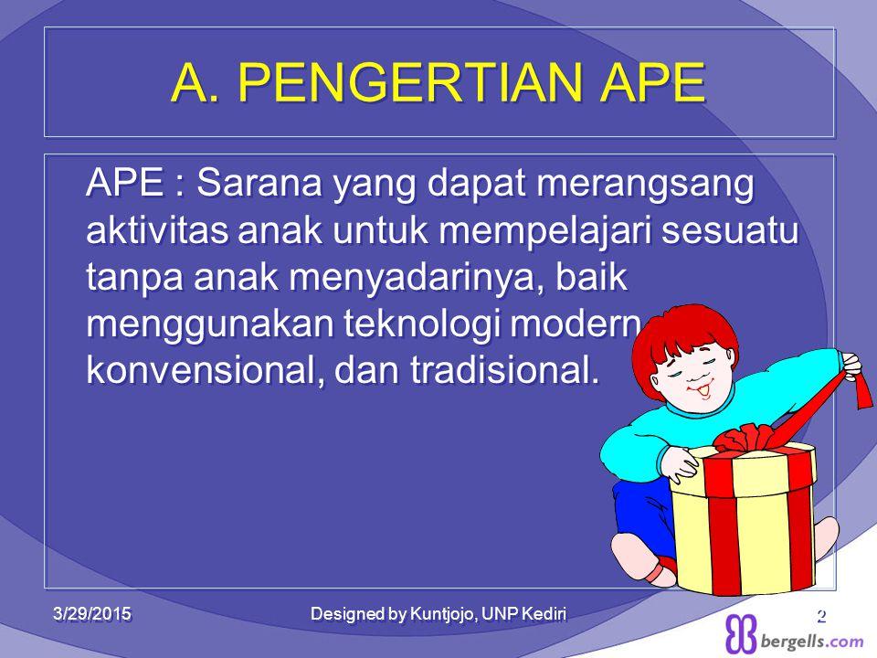 A. PENGERTIAN APE APE : Sarana yang dapat merangsang aktivitas anak untuk mempelajari sesuatu tanpa anak menyadarinya, baik menggunakan teknologi mode