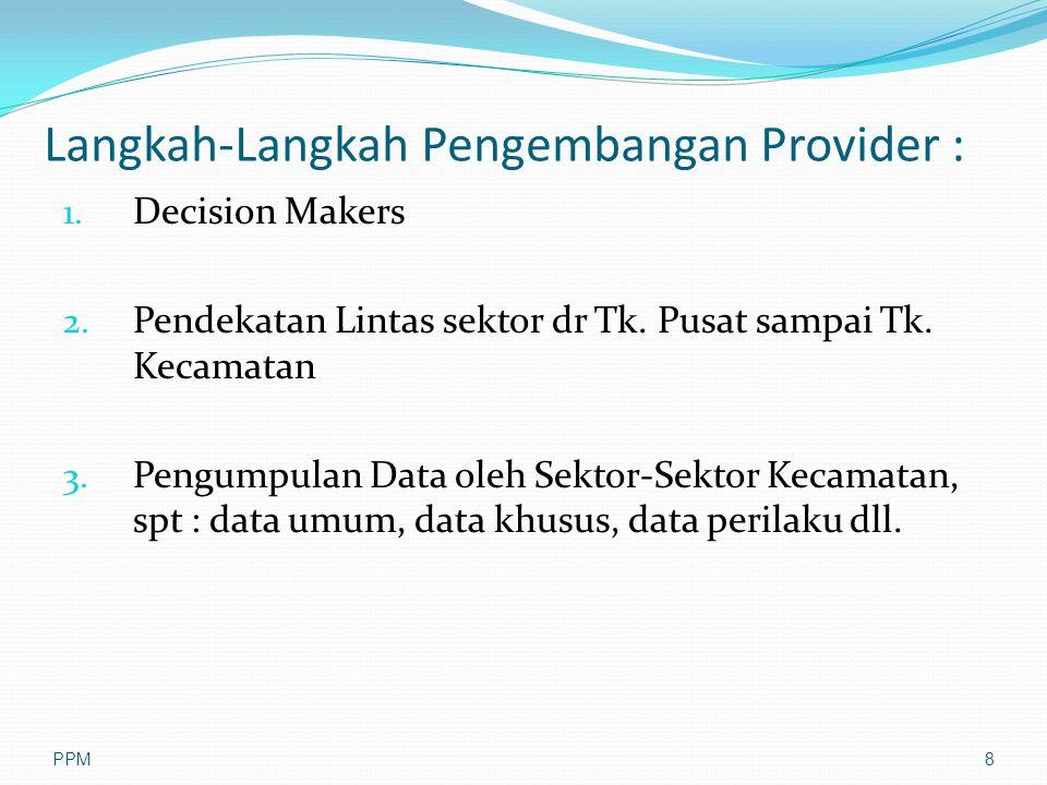 Langkah-Langkah Pengembangan Provider : 1. Decision Makers 2. Pendekatan Lintas sektor dr Tk. Pusat sampai Tk. Kecamatan 3. Pengumpulan Data oleh Sekt