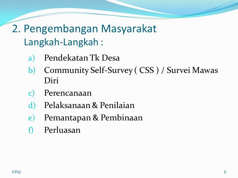 2. Pengembangan Masyarakat Langkah-Langkah : a) Pendekatan Tk Desa b) Community Self-Survey ( CSS ) / Survei Mawas Diri c) Perencanaan d) Pelaksanaan