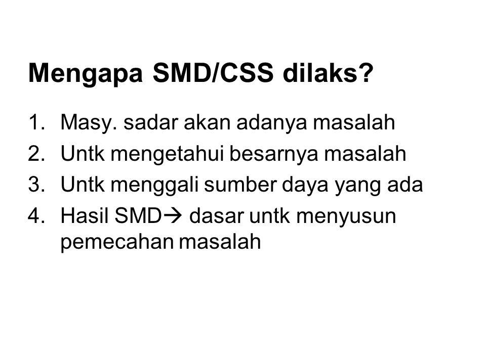 Mengapa SMD/CSS dilaks? 1.Masy. sadar akan adanya masalah 2.Untk mengetahui besarnya masalah 3.Untk menggali sumber daya yang ada 4.Hasil SMD  dasar