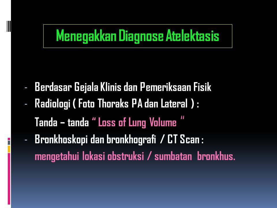 """Menegakkan Diagnose Atelektasis - Berdasar Gejala Klinis dan Pemeriksaan Fisik - Radiologi ( Foto Thoraks PA dan Lateral ) : Tanda – tanda """" Loss of L"""
