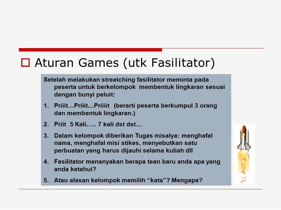  Aturan Games (utk Fasilitator) Setelah melakukan streatching fasilitator meminta pada peserta untuk berkelompok membentuk lingkaran sesuai dengan bu