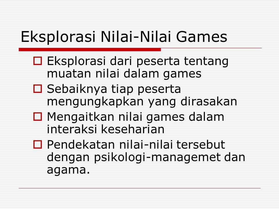 Eksplorasi Nilai-Nilai Games  Eksplorasi dari peserta tentang muatan nilai dalam games  Sebaiknya tiap peserta mengungkapkan yang dirasakan  Mengai