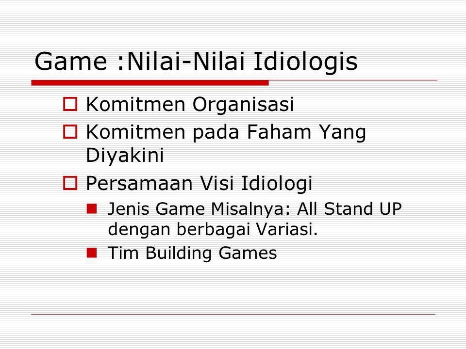 Game :Nilai-Nilai Idiologis  Komitmen Organisasi  Komitmen pada Faham Yang Diyakini  Persamaan Visi Idiologi Jenis Game Misalnya: All Stand UP deng