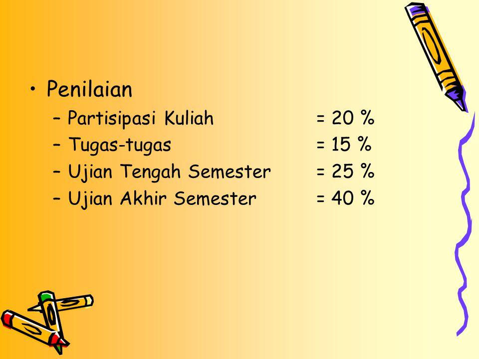 Penilaian –Partisipasi Kuliah= 20 % –Tugas-tugas= 15 % –Ujian Tengah Semester= 25 % –Ujian Akhir Semester= 40 %