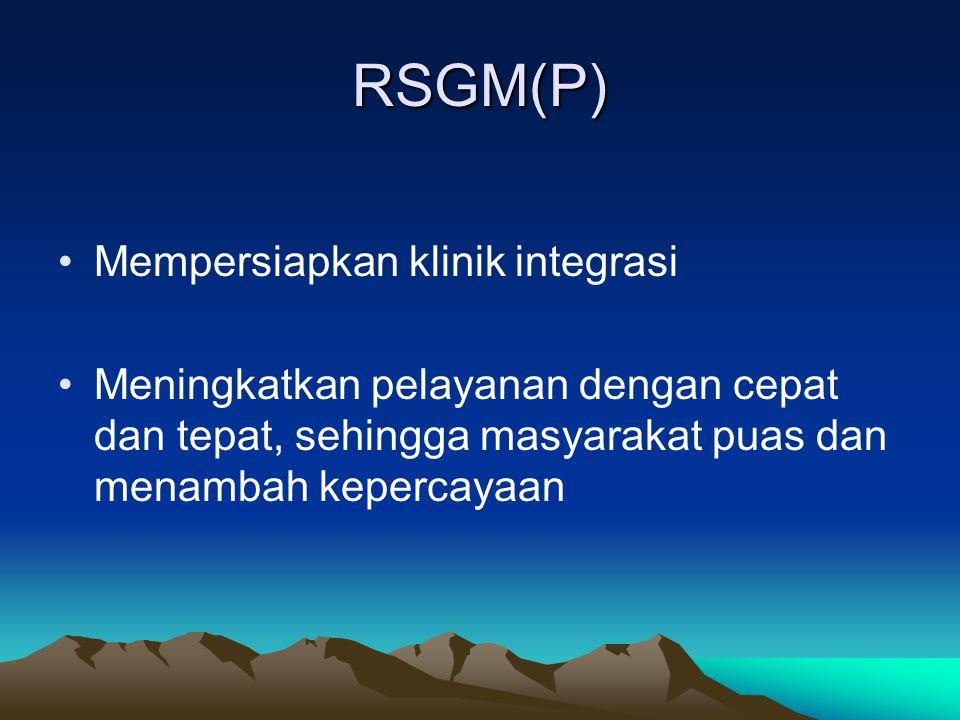 RSGM(P) Mempersiapkan klinik integrasi Meningkatkan pelayanan dengan cepat dan tepat, sehingga masyarakat puas dan menambah kepercayaan