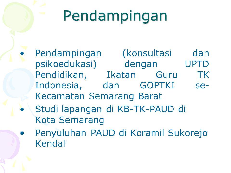 Pendampingan Pendampingan (konsultasi dan psikoedukasi) dengan UPTD Pendidikan, Ikatan Guru TK Indonesia, dan GOPTKI se- Kecamatan Semarang Barat Stud