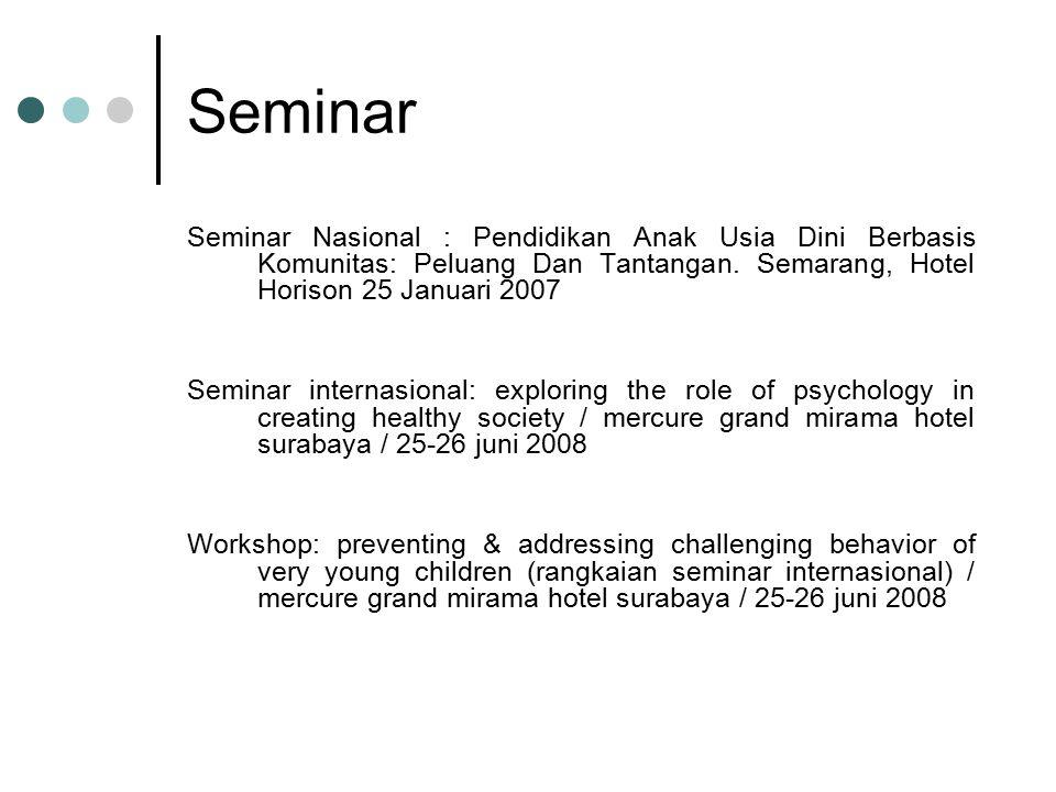 Seminar Seminar Nasional : Pendidikan Anak Usia Dini Berbasis Komunitas: Peluang Dan Tantangan. Semarang, Hotel Horison 25 Januari 2007 Seminar intern