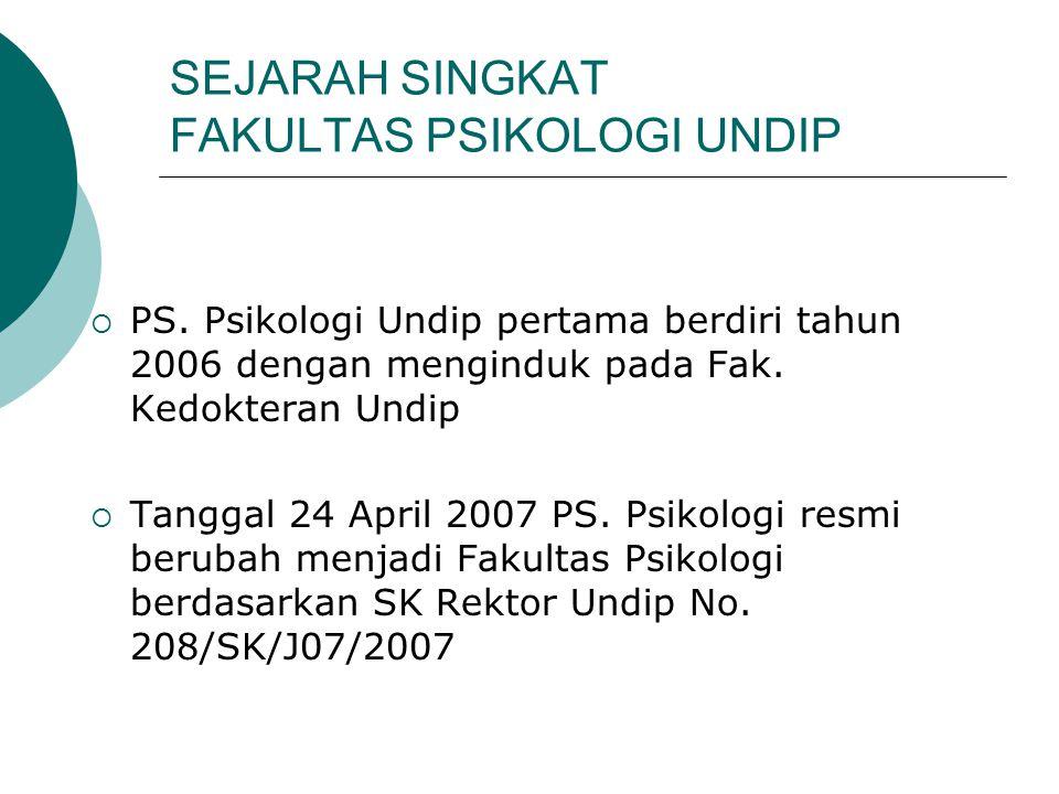 SEJARAH SINGKAT FAKULTAS PSIKOLOGI UNDIP  PS. Psikologi Undip pertama berdiri tahun 2006 dengan menginduk pada Fak. Kedokteran Undip  Tanggal 24 Apr