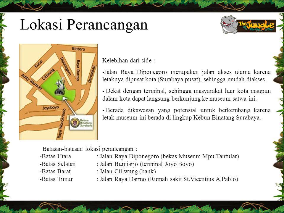 Lokasi Perancangan Batasan-batasan lokasi perancangan : -Batas Utara: Jalan Raya Diponegoro (bekas Museum Mpu Tantular) -Batas Selatan: Jalan Bumiarjo