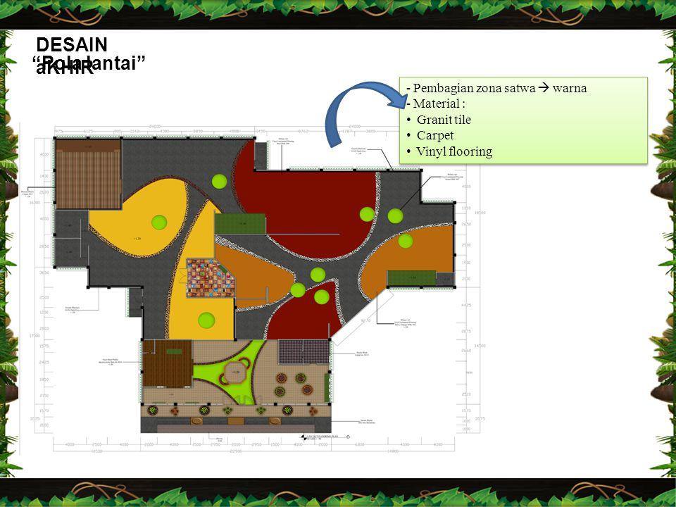 """DESAIN aKHIR """"Pola lantai"""" -Pembagian zona satwa  warna -Material : Granit tile Carpet Vinyl flooring -Pembagian zona satwa  warna -Material : Grani"""