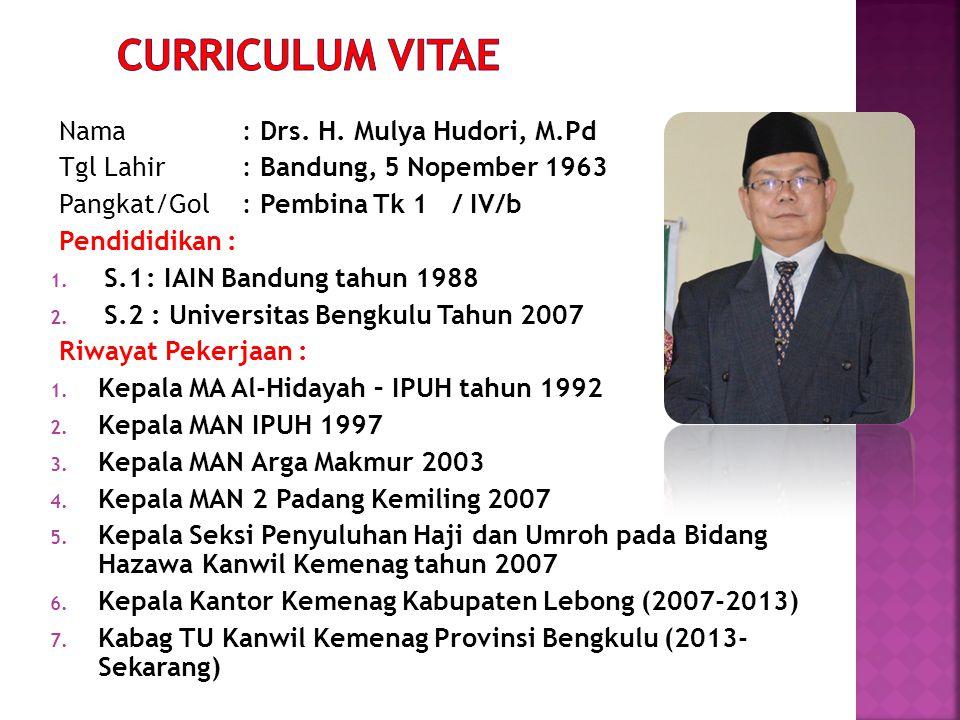 Nama: Drs. H. Mulya Hudori, M.Pd Tgl Lahir: Bandung, 5 Nopember 1963 Pangkat/Gol: Pembina Tk 1 / IV/b Pendididikan : 1. S.1: IAIN Bandung tahun 1988 2