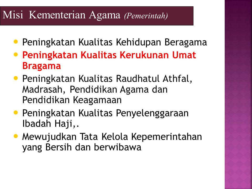 Misi Kementerian Agama (Pemerintah) Peningkatan Kualitas Kehidupan Beragama Peningkatan Kualitas Kerukunan Umat Bragama Peningkatan Kualitas Raudhatul