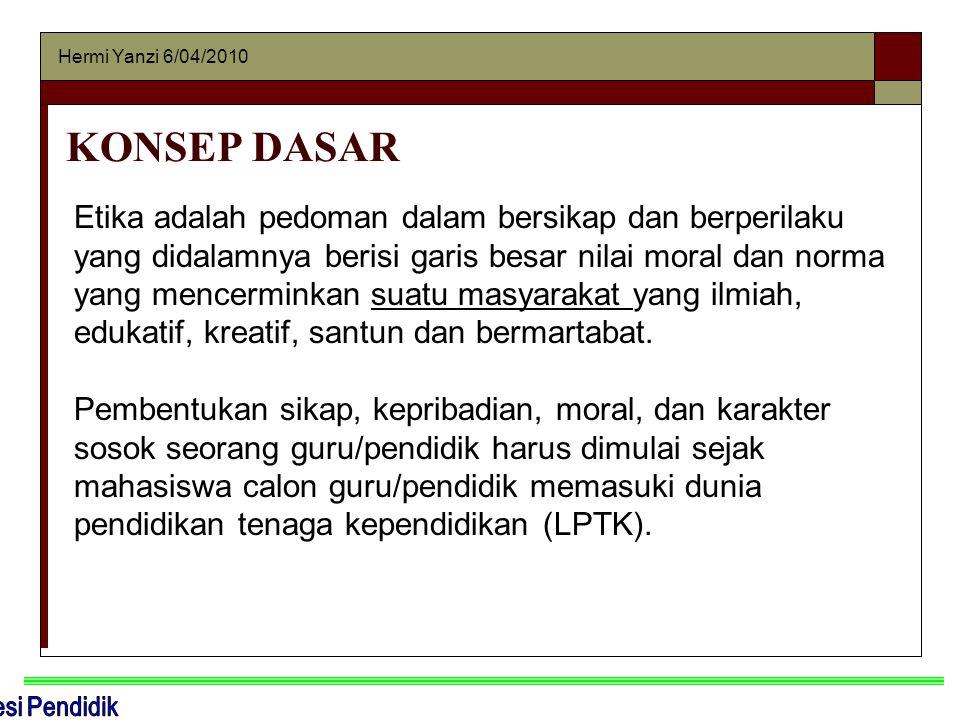 Hermi Yanzi 6/04/2010 KONSEP DASAR Etika adalah pedoman dalam bersikap dan berperilaku yang didalamnya berisi garis besar nilai moral dan norma yang m