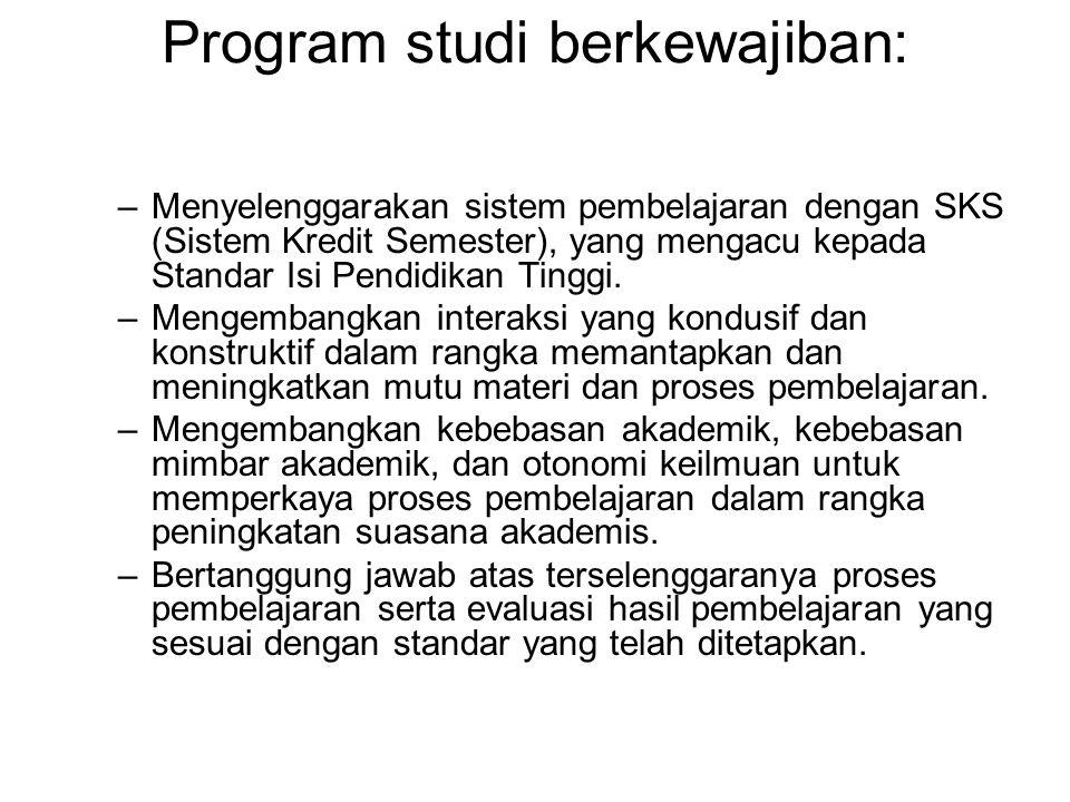 Program studi berkewajiban: –Menyelenggarakan sistem pembelajaran dengan SKS (Sistem Kredit Semester), yang mengacu kepada Standar Isi Pendidikan Ting