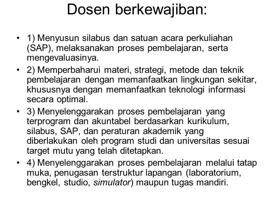 Dosen berkewajiban: 1) Menyusun silabus dan satuan acara perkuliahan (SAP), melaksanakan proses pembelajaran, serta mengevaluasinya. 2) Memperbaharui