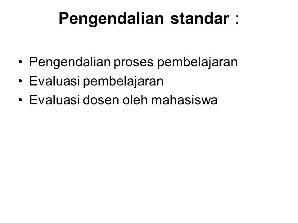 Pengendalian standar : Pengendalian proses pembelajaran Evaluasi pembelajaran Evaluasi dosen oleh mahasiswa