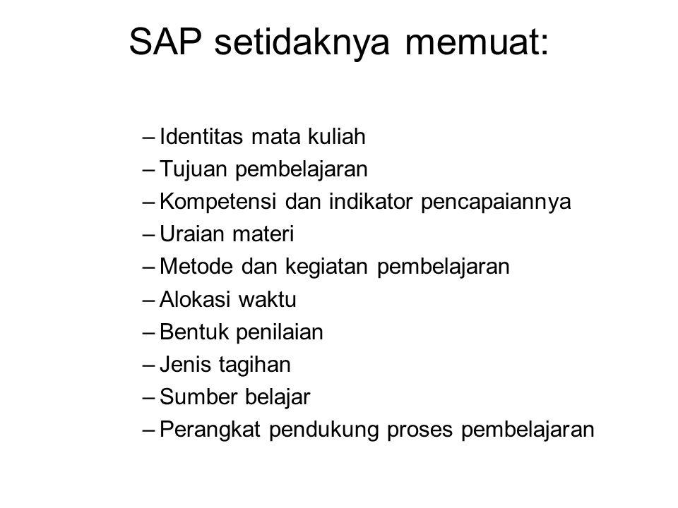 SAP setidaknya memuat: –Identitas mata kuliah –Tujuan pembelajaran –Kompetensi dan indikator pencapaiannya –Uraian materi –Metode dan kegiatan pembela