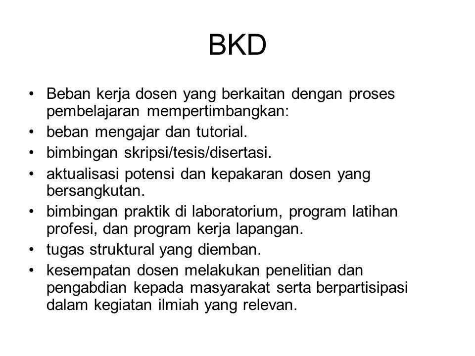 BKD Beban kerja dosen yang berkaitan dengan proses pembelajaran mempertimbangkan: beban mengajar dan tutorial. bimbingan skripsi/tesis/disertasi. aktu