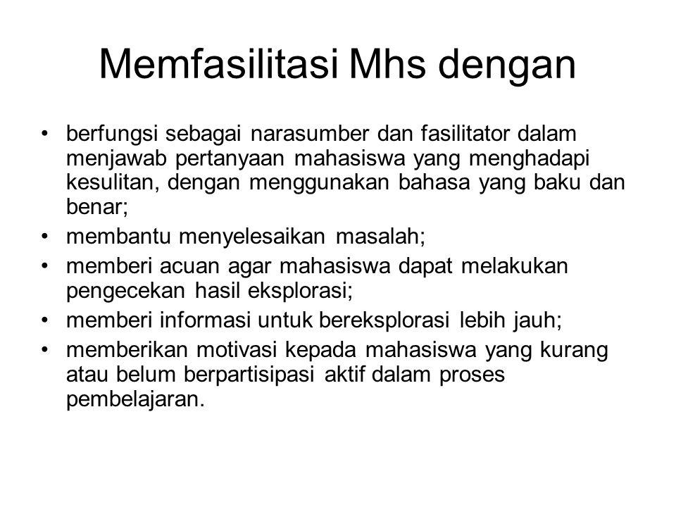 Memfasilitasi Mhs dengan berfungsi sebagai narasumber dan fasilitator dalam menjawab pertanyaan mahasiswa yang menghadapi kesulitan, dengan menggunaka