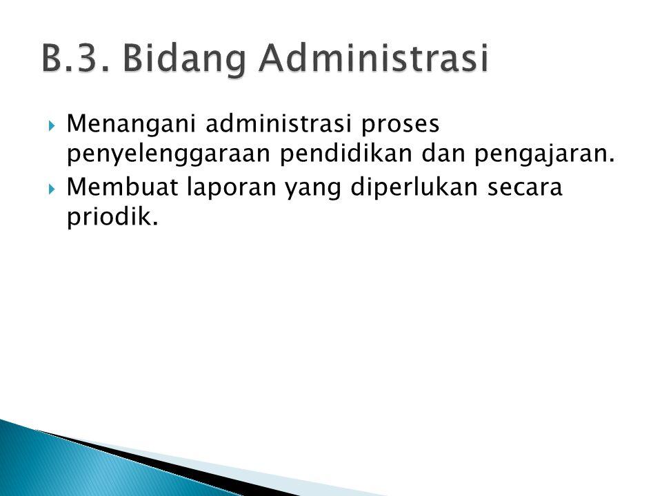  Menangani administrasi proses penyelenggaraan pendidikan dan pengajaran.