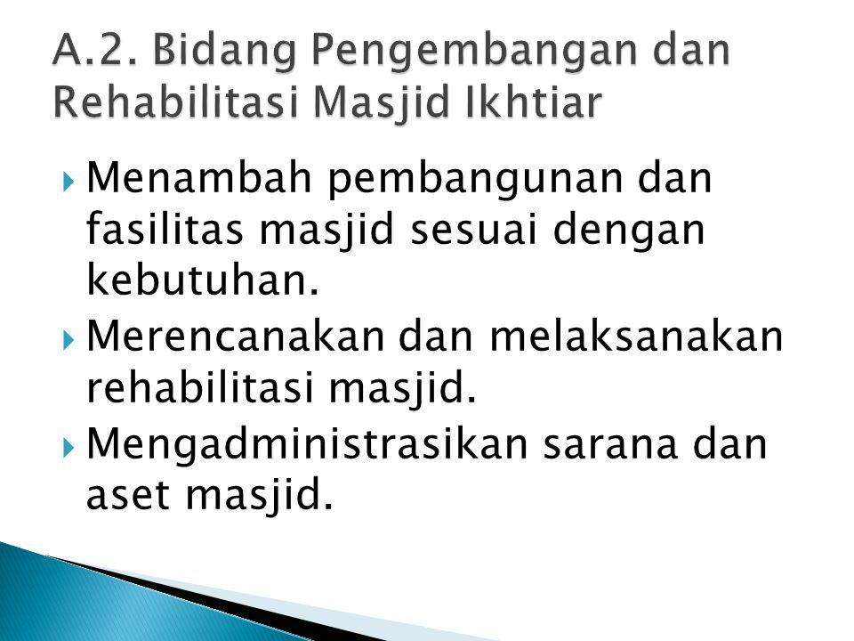  Menambah pembangunan dan fasilitas masjid sesuai dengan kebutuhan.