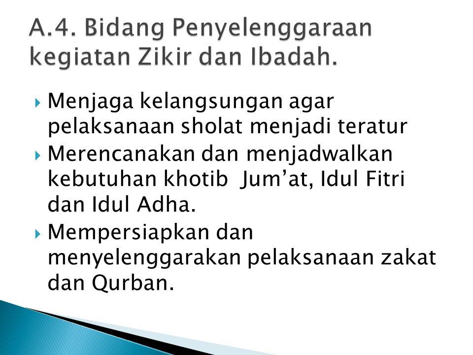  Menjaga kelangsungan agar pelaksanaan sholat menjadi teratur  Merencanakan dan menjadwalkan kebutuhan khotib Jum'at, Idul Fitri dan Idul Adha.