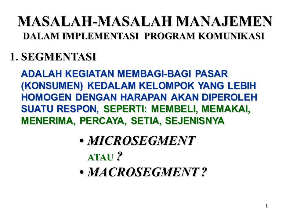 1 MASALAH-MASALAH MANAJEMEN DALAM IMPLEMENTASI PROGRAM KOMUNIKASI SEGMENTASI 1. SEGMENTASI ADALAH KEGIATAN MEMBAGI-BAGI PASAR (KONSUMEN) KEDALAM KELOM