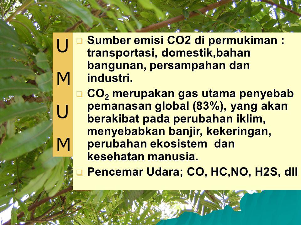  Sumber emisi CO2 di permukiman : transportasi, domestik,bahan bangunan, persampahan dan industri.  CO 2 merupakan gas utama penyebab pemanasan glob