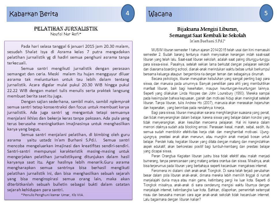 Kabarkan Berita 4 Pelatihan jurnalistik Naufal Nur Rafi* Pada hari selasa tanggal 6 januari 2015 jam 20.30 malam, sesudah Shalat Isya di Asrama kelas