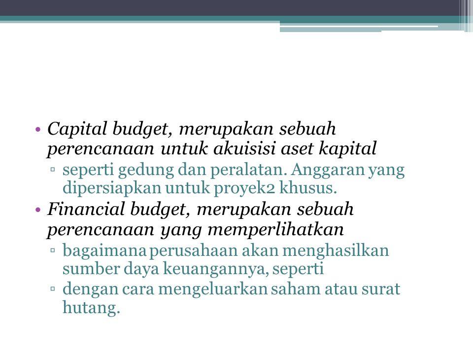 Capital budget, merupakan sebuah perencanaan untuk akuisisi aset kapital ▫seperti gedung dan peralatan. Anggaran yang dipersiapkan untuk proyek2 khusu