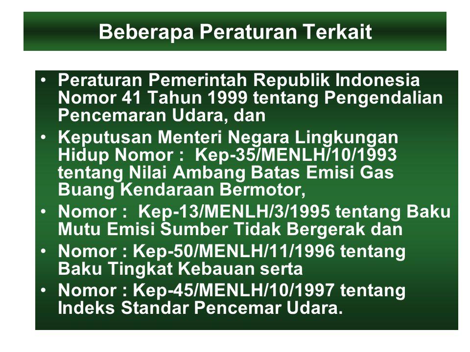 Beberapa Peraturan Terkait Peraturan Pemerintah Republik Indonesia Nomor 41 Tahun 1999 tentang Pengendalian Pencemaran Udara, dan Keputusan Menteri Negara Lingkungan Hidup Nomor : Kep-35/MENLH/10/1993 tentang Nilai Ambang Batas Emisi Gas Buang Kendaraan Bermotor, Nomor : Kep-13/MENLH/3/1995 tentang Baku Mutu Emisi Sumber Tidak Bergerak dan Nomor : Kep-50/MENLH/11/1996 tentang Baku Tingkat Kebauan serta Nomor : Kep-45/MENLH/10/1997 tentang Indeks Standar Pencemar Udara.