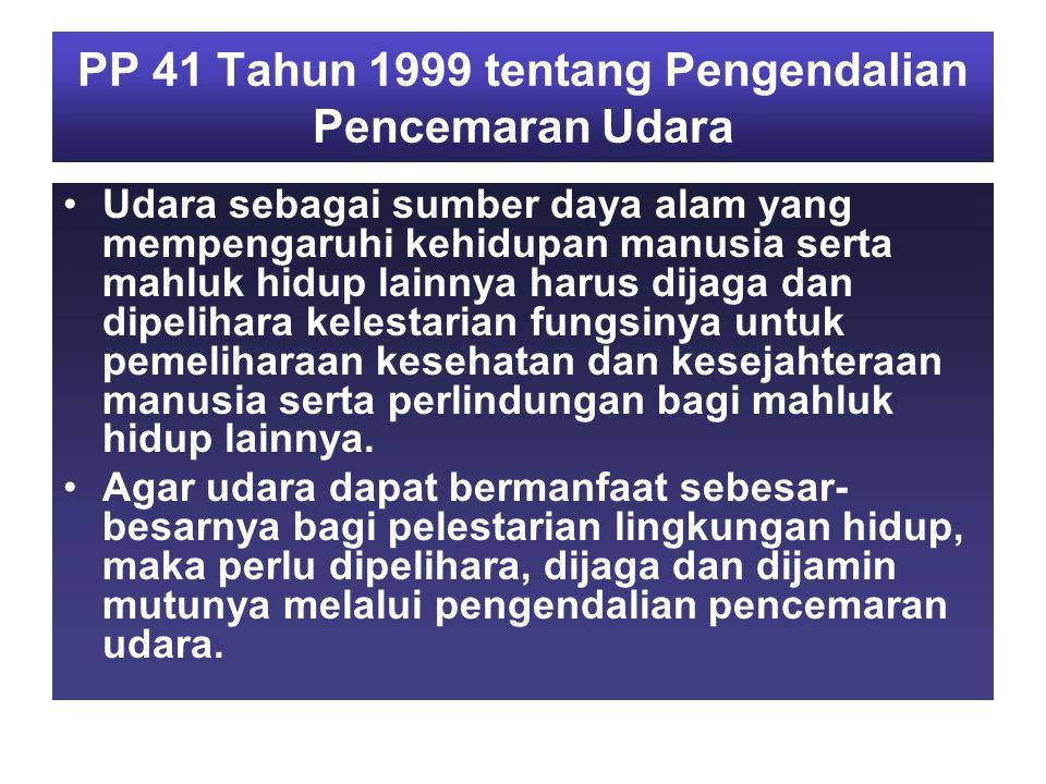 PP 41 Tahun 1999 tentang Pengendalian Pencemaran Udara Udara sebagai sumber daya alam yang mempengaruhi kehidupan manusia serta mahluk hidup lainnya harus dijaga dan dipelihara kelestarian fungsinya untuk pemeliharaan kesehatan dan kesejahteraan manusia serta perlindungan bagi mahluk hidup lainnya.