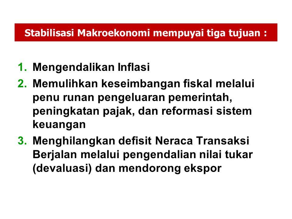 Stabilisasi Makroekonomi mempuyai tiga tujuan : 1.Mengendalikan Inflasi 2.Memulihkan keseimbangan fiskal melalui penu runan pengeluaran pemerintah, pe