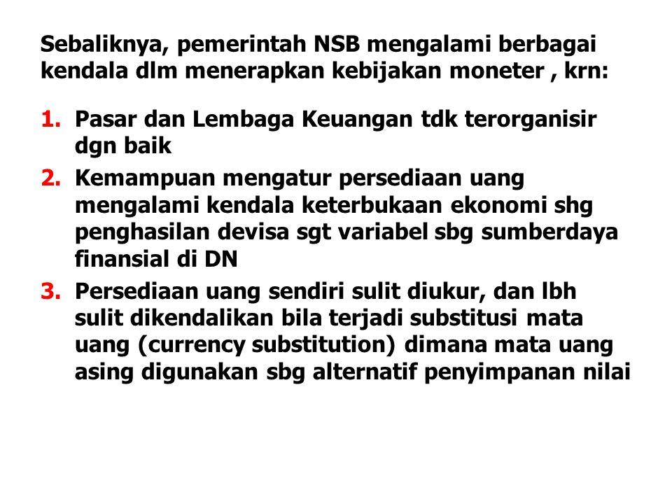 Sebaliknya, pemerintah NSB mengalami berbagai kendala dlm menerapkan kebijakan moneter, krn: 1.Pasar dan Lembaga Keuangan tdk terorganisir dgn baik 2.