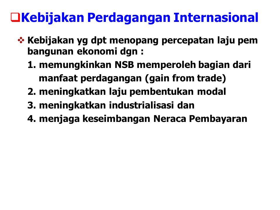  Kebijakan Perdagangan Internasional  Kebijakan yg dpt menopang percepatan laju pem bangunan ekonomi dgn : 1. memungkinkan NSB memperoleh bagian dar