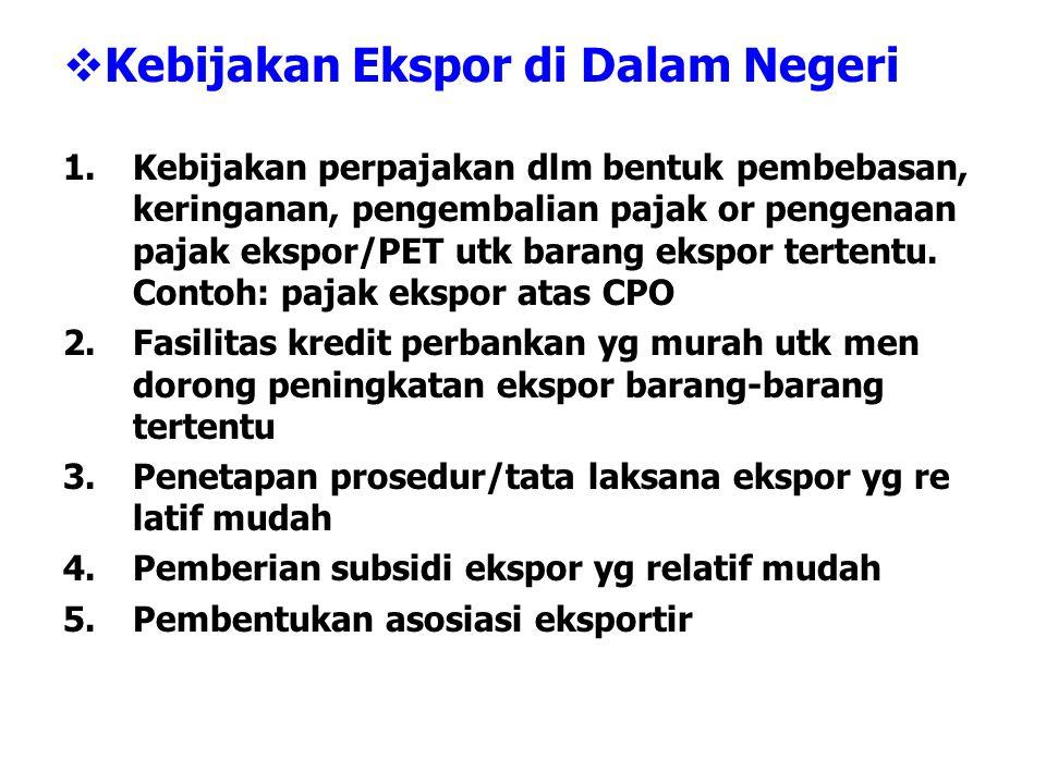  Kebijakan Ekspor di Dalam Negeri 1.Kebijakan perpajakan dlm bentuk pembebasan, keringanan, pengembalian pajak or pengenaan pajak ekspor/PET utk bara