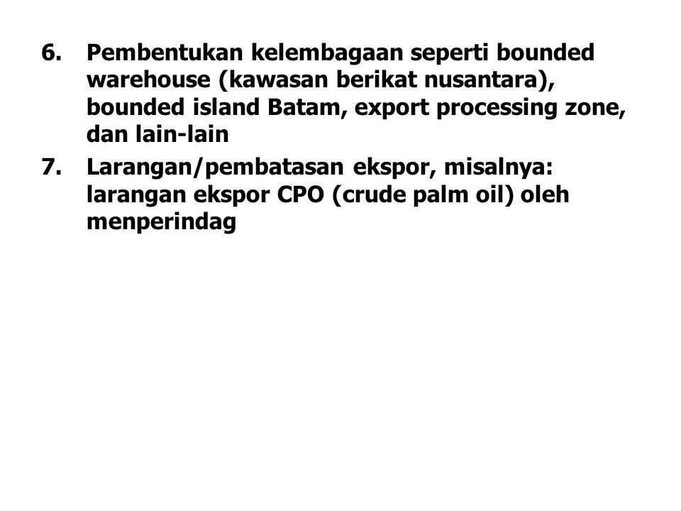 6.Pembentukan kelembagaan seperti bounded warehouse (kawasan berikat nusantara), bounded island Batam, export processing zone, dan lain-lain 7.Laranga