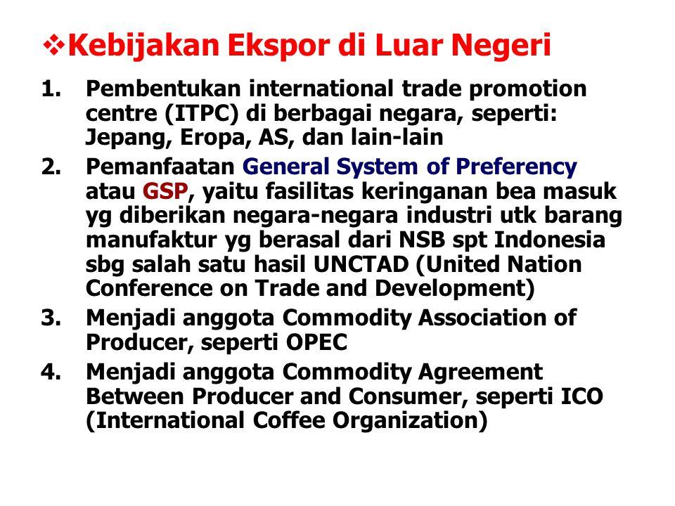  Kebijakan Ekspor di Luar Negeri 1.Pembentukan international trade promotion centre (ITPC) di berbagai negara, seperti: Jepang, Eropa, AS, dan lain-l
