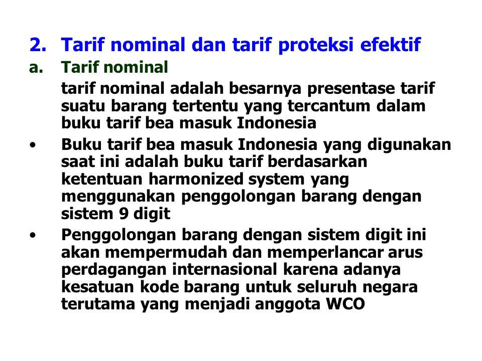 2.Tarif nominal dan tarif proteksi efektif a.Tarif nominal tarif nominal adalah besarnya presentase tarif suatu barang tertentu yang tercantum dalam b