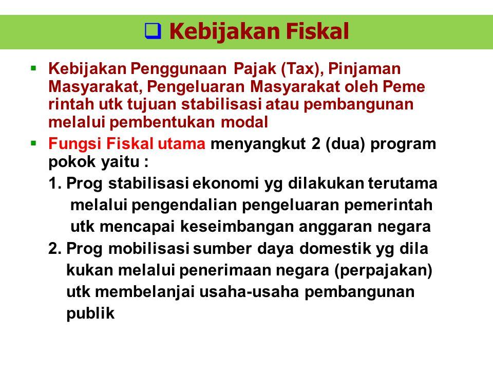  Kebijakan Fiskal  Kebijakan Penggunaan Pajak (Tax), Pinjaman Masyarakat, Pengeluaran Masyarakat oleh Peme rintah utk tujuan stabilisasi atau pemban
