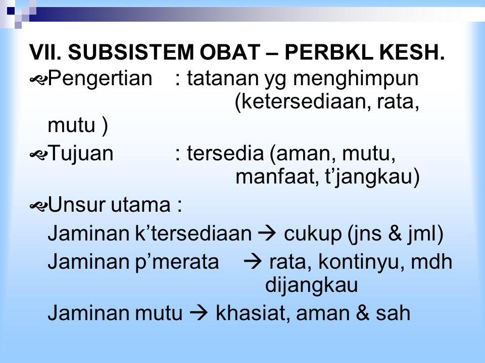 VII. SUBSISTEM OBAT – PERBKL KESH.