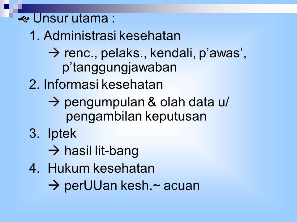  Unsur utama : 1. Administrasi kesehatan  renc., pelaks., kendali, p'awas', p'tanggungjawaban 2.