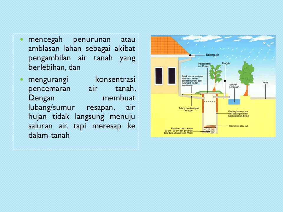 mencegah penurunan atau amblasan lahan sebagai akibat pengambilan air tanah yang berlebihan, dan mengurangi konsentrasi pencemaran air tanah.