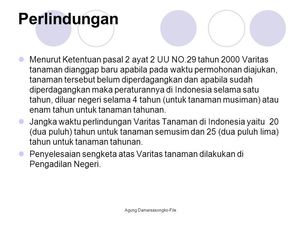 Perlindungan Menurut Ketentuan pasal 2 ayat 2 UU NO.29 tahun 2000 Varitas tanaman dianggap baru apabila pada waktu permohonan diajukan, tanaman terseb