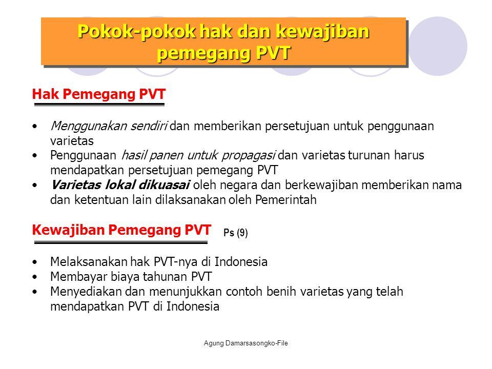 Pokok-pokok hak dan kewajiban pemegang PVT Hak Pemegang PVT Menggunakan sendiri dan memberikan persetujuan untuk penggunaan varietas Penggunaan hasil