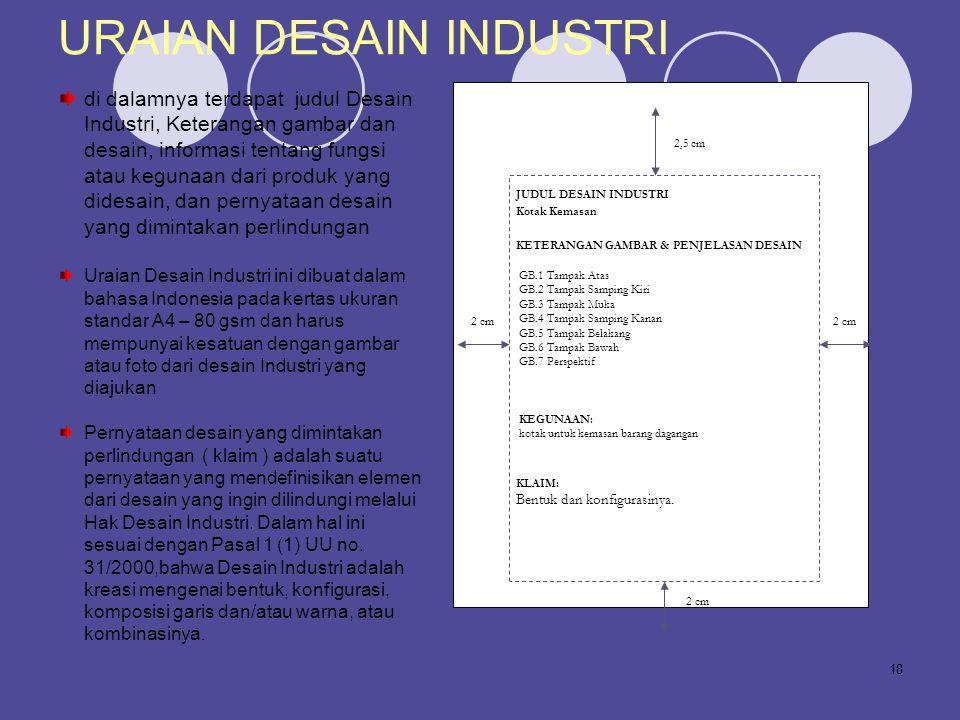 18 URAIAN DESAIN INDUSTRI di dalamnya terdapat judul Desain Industri, Keterangan gambar dan desain, informasi tentang fungsi atau kegunaan dari produk
